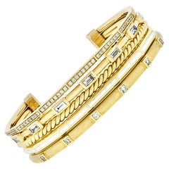 David Yurman 18 Karat Gold Stax Diamond and White Enamel Bracelet Medium