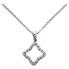 David Yurman 18 Karat White Gold Diamond Quatrefoil Necklace