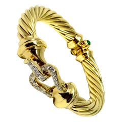 David Yurman 18 Karat Yellow Gold 1 Carat Diamond Ruby Emerald Cable Bracelet
