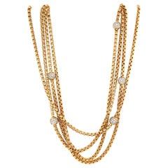 David Yurman 18 Karat Yellow Gold 4-Row Diamond Ball Necklace