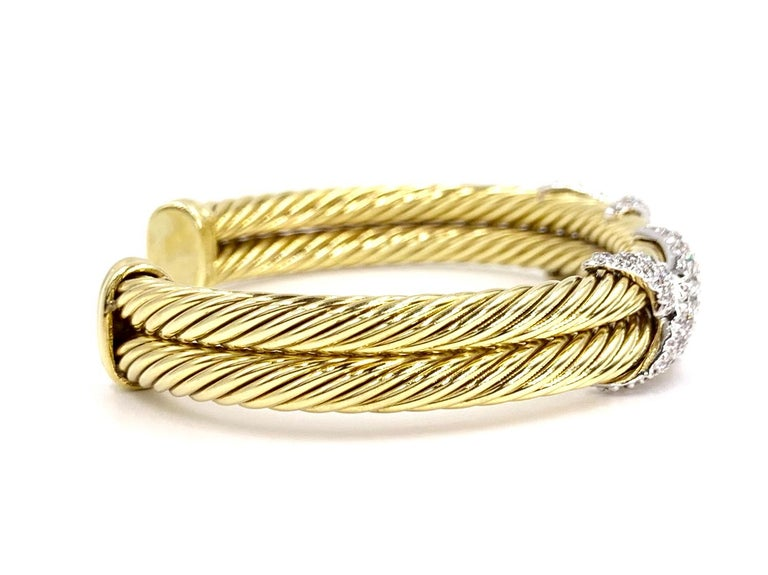 Contemporary David Yurman 18 Karat Yellow Gold and Diamond Cable Cuff Bracelet For Sale