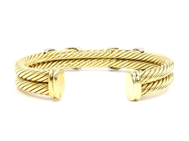 David Yurman 18 Karat Yellow Gold and Diamond Cable Cuff Bracelet In Good Condition For Sale In Pikesville, MD