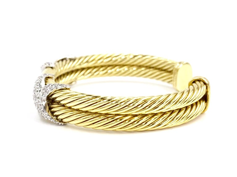 Women's David Yurman 18 Karat Yellow Gold and Diamond Cable Cuff Bracelet For Sale