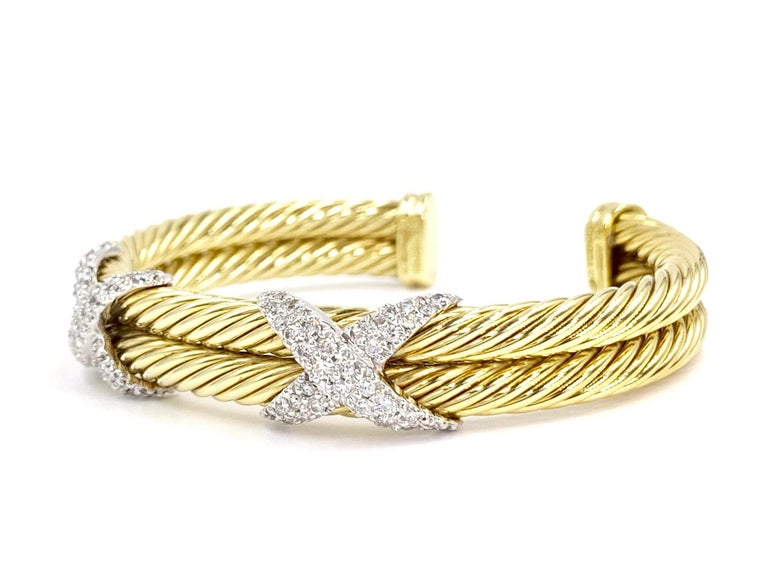 David Yurman 18 Karat Yellow Gold and Diamond Cable Cuff Bracelet For Sale 1