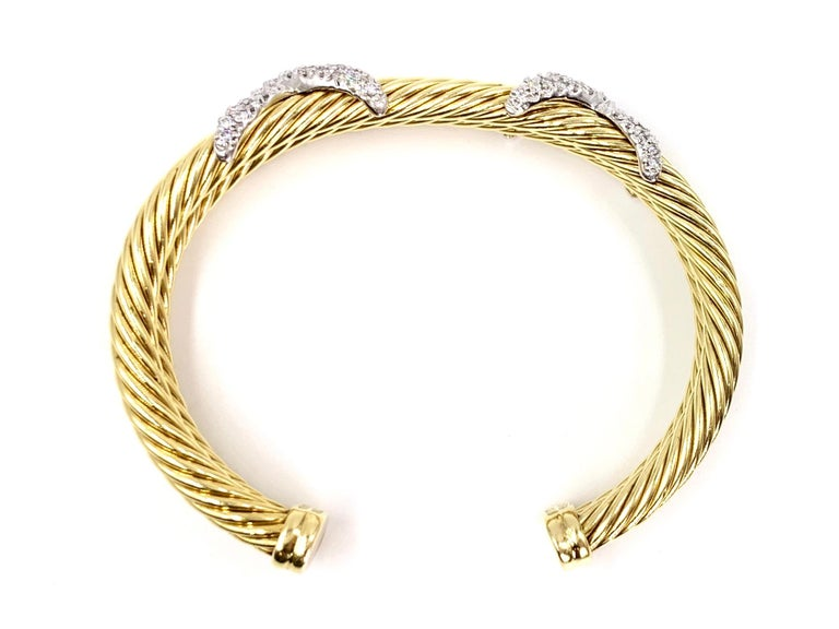 David Yurman 18 Karat Yellow Gold and Diamond Cable Cuff Bracelet For Sale 2