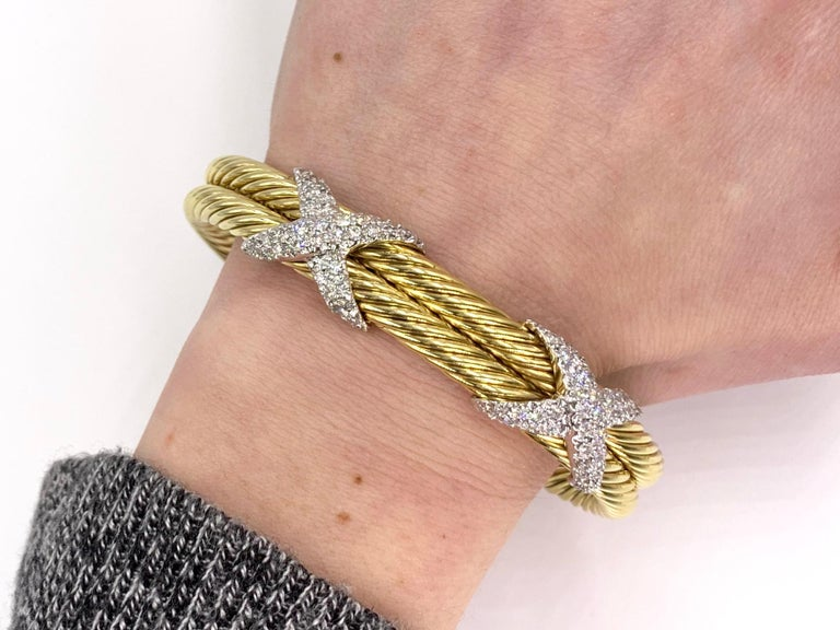 David Yurman 18 Karat Yellow Gold and Diamond Cable Cuff Bracelet For Sale 4