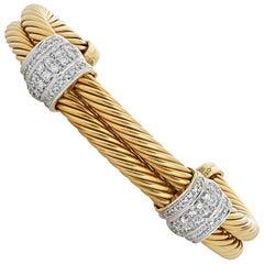 David Yurman 18 Karat Yellow Gold and Diamond Double Cable Cuff Bracelet