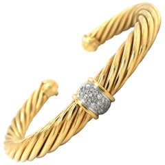 David Yurman 18 Karat Yellow Gold and Diamond Twisted Cable Cuff Bracelet