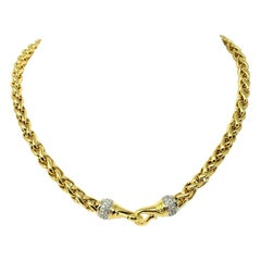 David Yurman 18 Karat Yellow Gold and Diamond Wheat Necklace