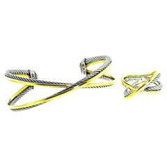 David Yurman 18 Karat Yellow Gold and Sterling Silver Bracelet and Ring Set