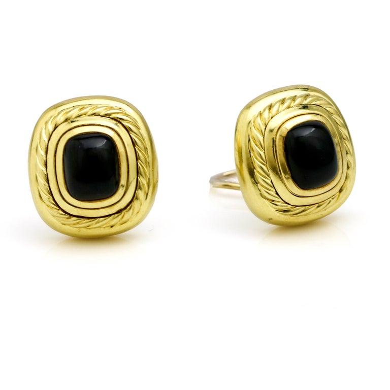 Retro David Yurman 18 Karat Yellow Gold Black Onyx Albion Stud Earrings For Sale