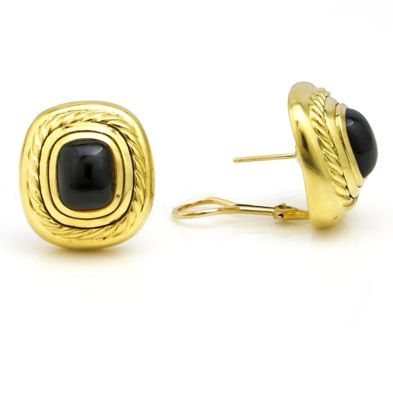 David Yurman 18 Karat Yellow Gold Black Onyx Albion Stud Earrings In Good Condition For Sale In Fort Lauderdale, FL