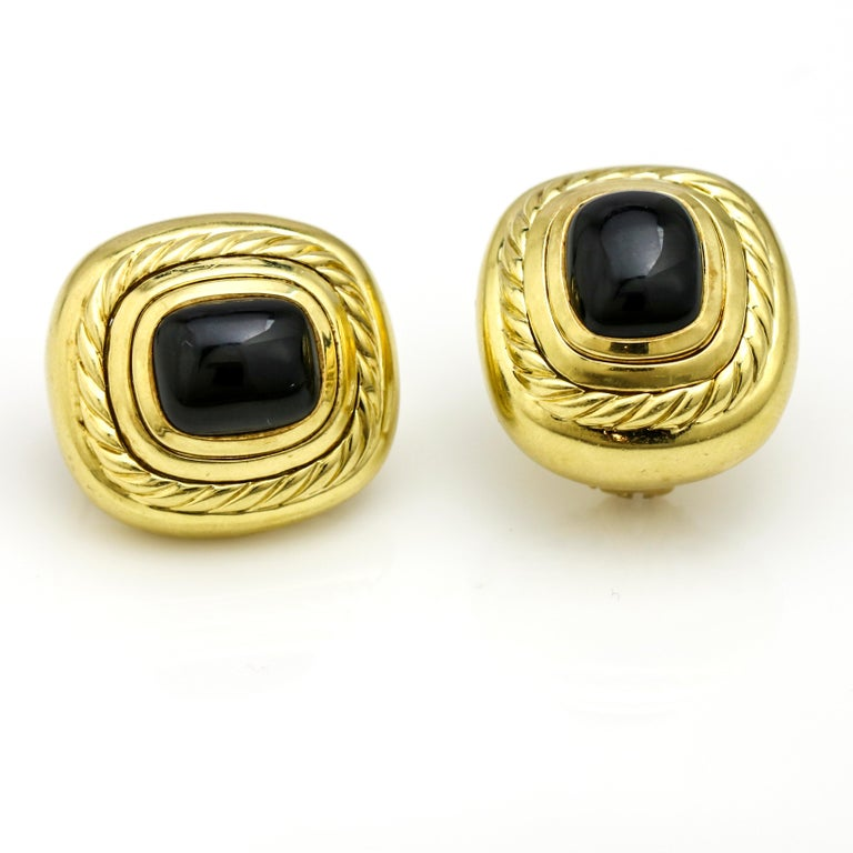 Women's David Yurman 18 Karat Yellow Gold Black Onyx Albion Stud Earrings For Sale