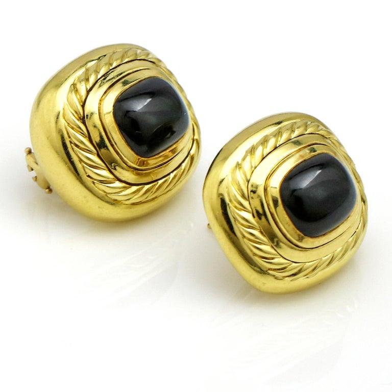David Yurman 18 Karat Yellow Gold Black Onyx Albion Stud Earrings For Sale 1