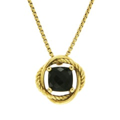 David Yurman 18 Karat Yellow Gold Black Onyx Infinity Necklace