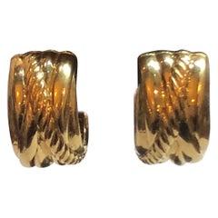 David Yurman 18 Karat Yellow Gold Cable Classic Small Huggie Earrings