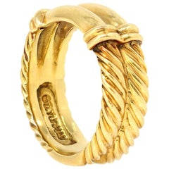 David Yurman 18 Karat Yellow Gold Cable Twist Band Ring