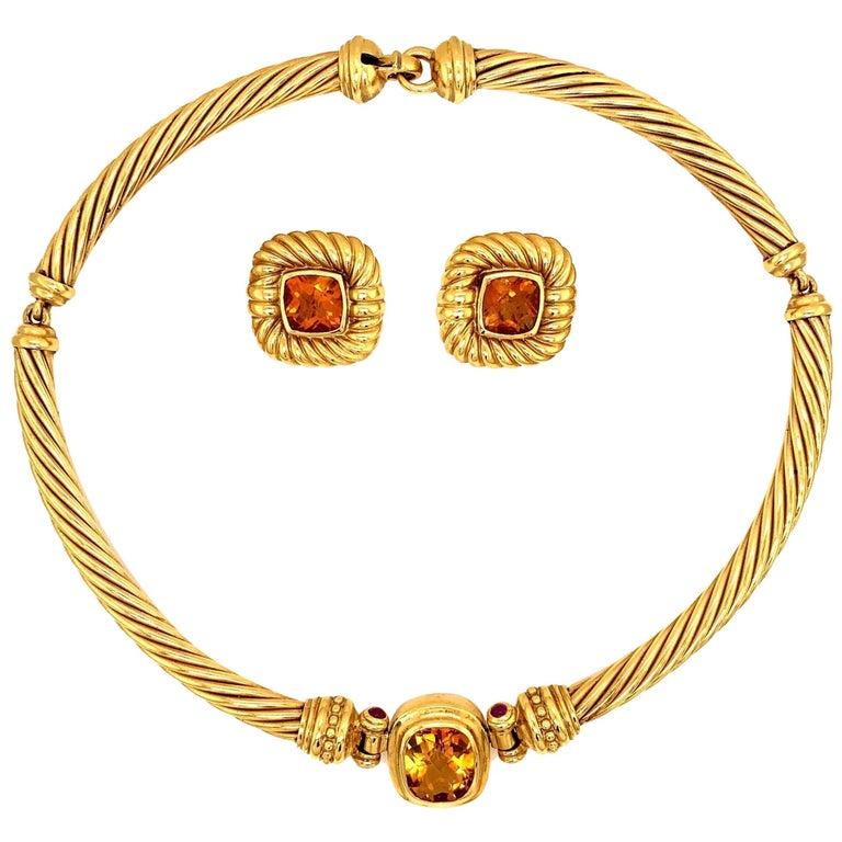 David Yurman 18 Karat Yellow Gold Citrine Choker Necklace and Earrings For Sale