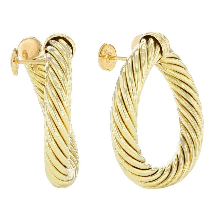 ce33b819933ef David Yurman 18 Karat Yellow Gold Classic Cable Women's Hoop Earrings