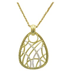 David Yurman 18 Karat Yellow Gold Diamond Pendant
