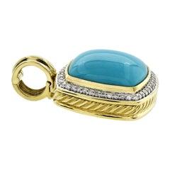 David Yurman 18 Karat Yellow Gold Diamond Turquoise Enhancer Pendant