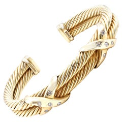 "David Yurman 18 Karat Yellow Gold Diamond ""X"" Double Cable Cuff"