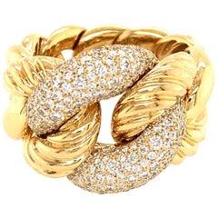David Yurman 18 Karat Yellow Gold Pave Diamond Link Ring