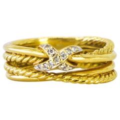 David Yurman 18 Karat Yellow Gold Ring with Diamonds