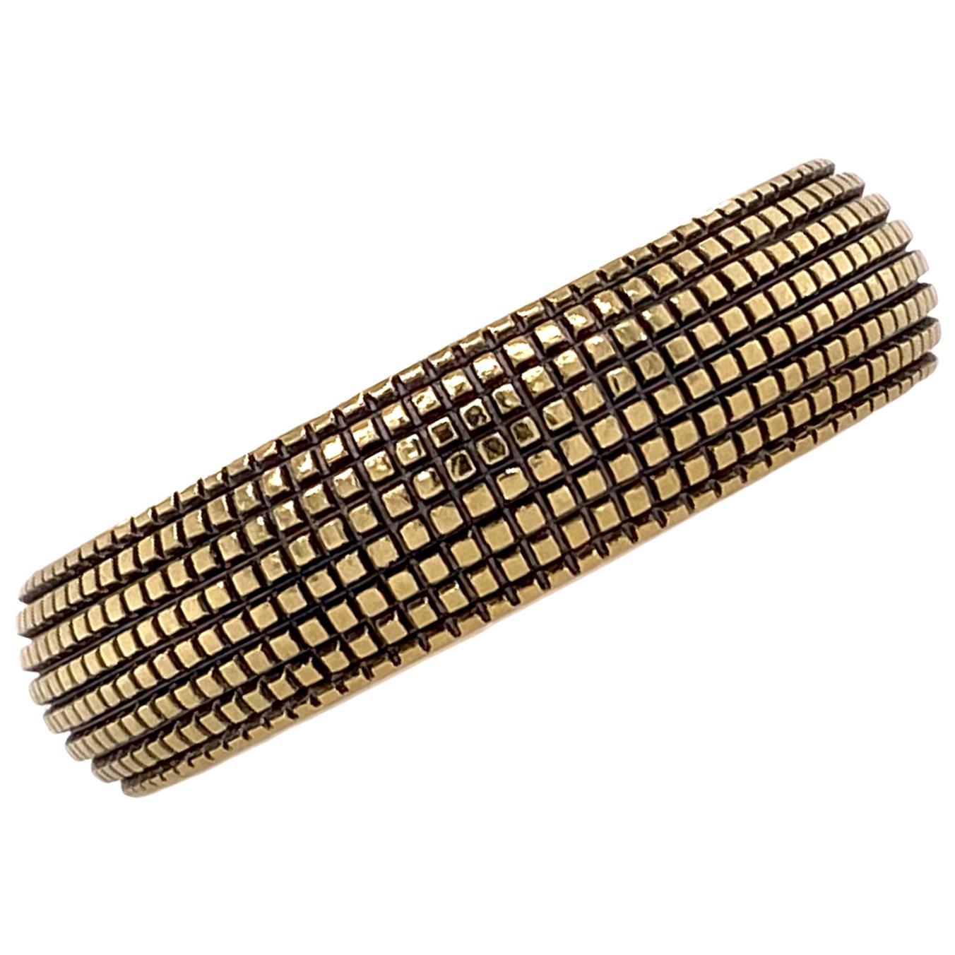 David Yurman 18 Karat Yellow Gold Textured Men's Band Ring