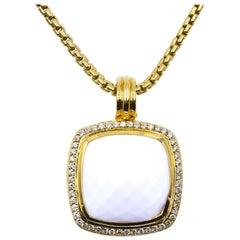 David Yurman 18 Karat Yellow Gold White Agate and Diamond Albion Necklace
