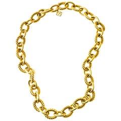 David Yurman 18 Karat Yellow Oval Rope Link Choker Necklace