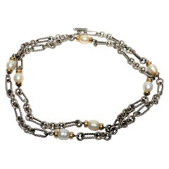 David Yurman 18-Karat Gold, Pearls and Sterling Silver, Figaro Necklace