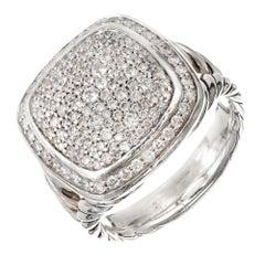David Yurman 1.82 Carat Diamond Albion Silver Cocktail Ring