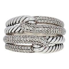 David Yurman .18ctw Diamond Labyrinth Double Loop Ring, Sterling Silver Women's