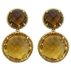 David Yurman 18 Karat Chatelaine Mini Double Drop Earrings in Citrine