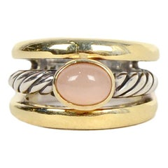 David Yurman 18K Gold & Silver Cable Ring w/ Peach Moonstone size 7 rt $1,290