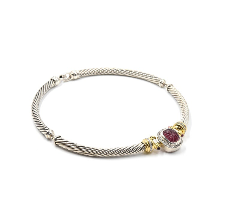 David Yurman 18k Gold And Sterling Silver Pink Tourmaline