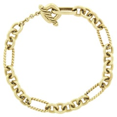 David Yurman 18k Gold Twisted Wire & Polished Cable Chain Toggle Bracelet