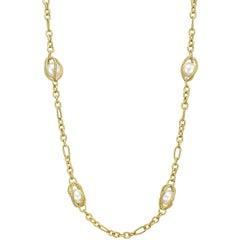 David Yurman 18 Karat Yellow Gold and Pearl Cage Link Long Necklace