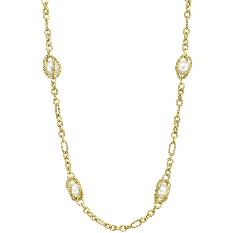 David Yurman 18 Karat Yellow Gold and Pearl Cage Link Long Necklace