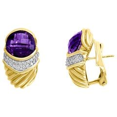 David Yurman 18 Karat Gold Cable Checkered Faceted Amethyst and Diamonds Fluted