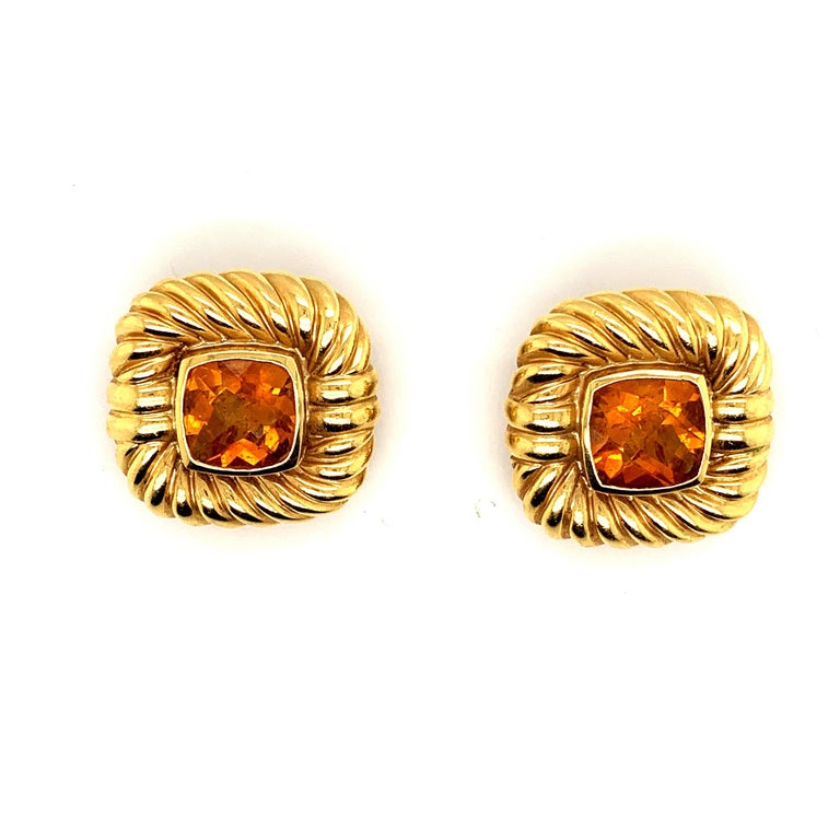 Original David Yurman cable choker necklace and matching earrings in 18k yellow gold featuring approx. 25 carats of Beautiful Quality citrine, with ruby accents on the necklace. With Over 104 grams grams of 18k gold this David yurman classic is a
