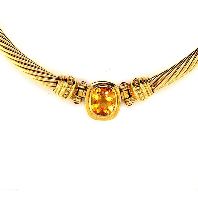 Women's David Yurman 18 Karat Yellow Gold Citrine Choker Necklace and Earrings For Sale