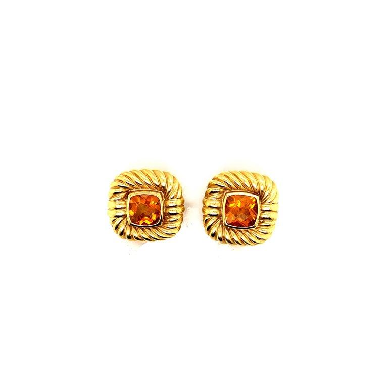 David Yurman 18 Karat Yellow Gold Citrine Choker Necklace and Earrings For Sale 1