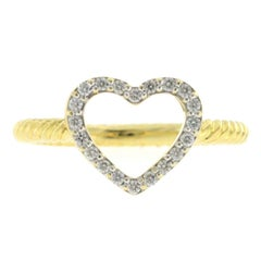 David Yurman 18 Karat Yellow Gold Diamond Cable Classics Heart Ring