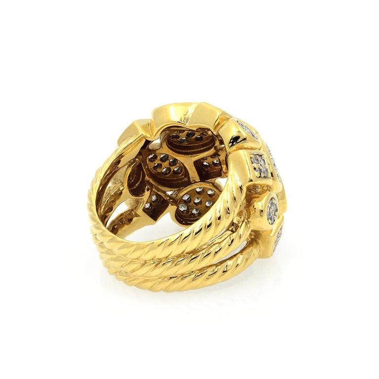David Yurman 18k Yellow Gold Diamond Cluster Ring For Sale 4