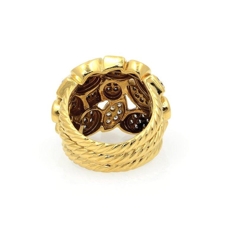David Yurman 18k Yellow Gold Diamond Cluster Ring For Sale 5