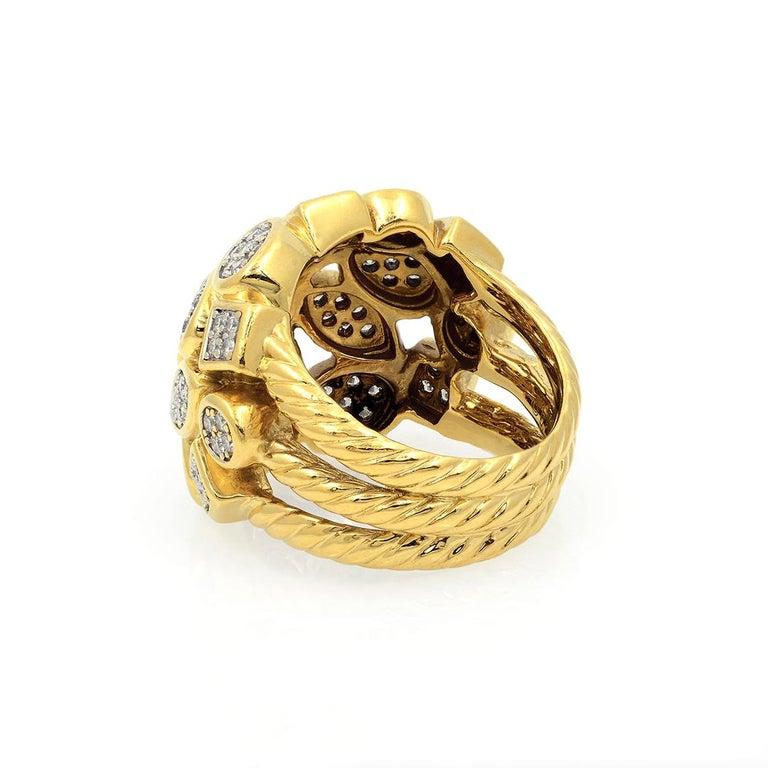 David Yurman 18k Yellow Gold Diamond Cluster Ring For Sale 6