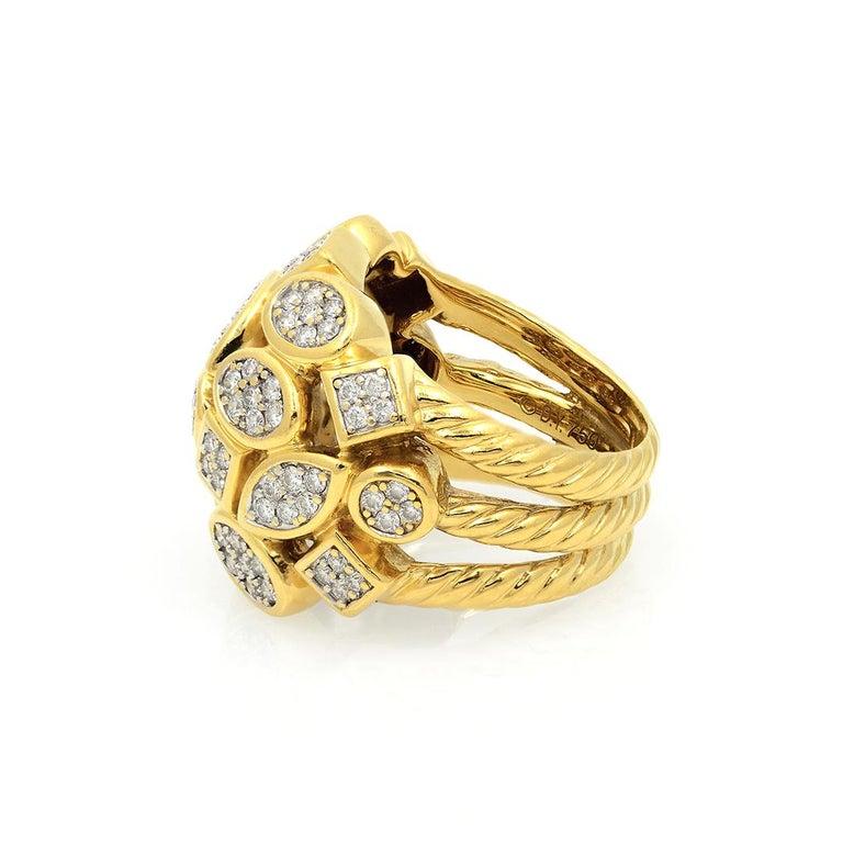 David Yurman 18k Yellow Gold Diamond Cluster Ring For Sale 7