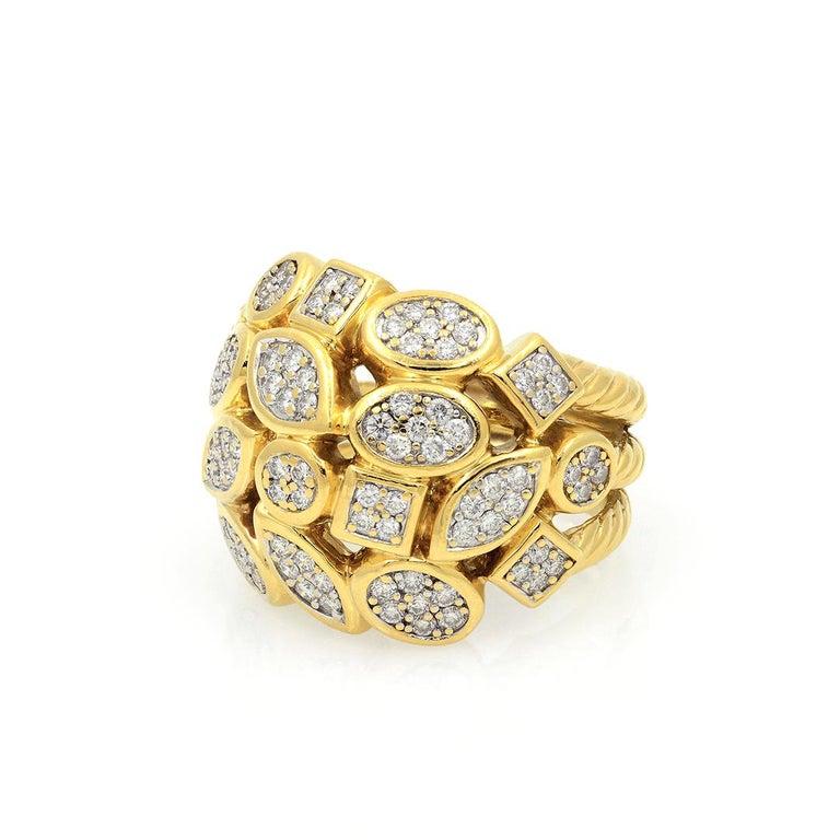 David Yurman 18k Yellow Gold Diamond Cluster Ring For Sale 8